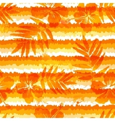 Orange bright flowers and grunge stripes seamless vector image