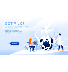 organic milk flat landing page with header vector image