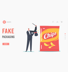 Performer show with fake product packaging landing vector
