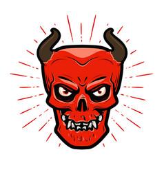 Portrait angry devil halloween satan lucifer vector