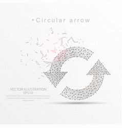 refresh circular arrows digitally drawn low poly vector image