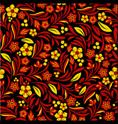 russian ethnic on seamless plants pattern vector image