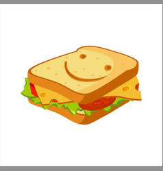 sandwich with cheese tomato and salad street vector image