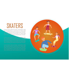 scaters teenagers skating lesson on skateboard vector image