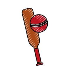 scribble cricket ball and bat cartoon vector image