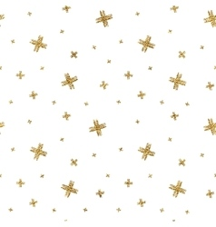 Seamless pattern of gold glitter crosses vector