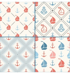 Seamless pattern set of anchor sailboat vector image