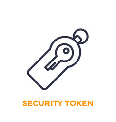 Security token line icon on white vector