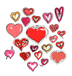 set beautiful ink drawing hearts vector image