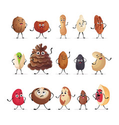 set cute nuts and seeds characters cartoon mascot vector image