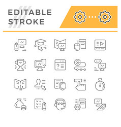 set line icons online education vector image