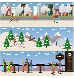 set of active winter people posters in flat vector image
