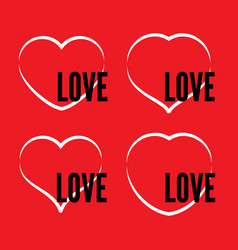 set of four white hearts outline on red background vector image