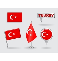 Set of Turkish pin icon and map pointer flags vector