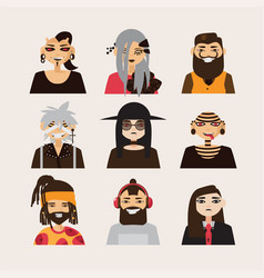 Set with male subcultural characters rasta vector