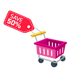 shopping infographic cart sale save 50 tag backgr vector image