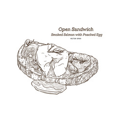 Smoke salmon with poached egg sandwich hand draw vector