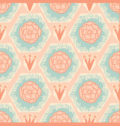 soft pastel vintage floral dusty rose and blue vector image
