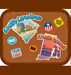 South carolina rhode island travel stickers vector