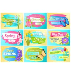 Spring set labels discounts advertisement stickers vector