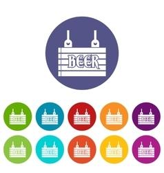 Street signboard of beer set icons vector