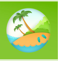 summer beach holiday vacation sea palm tree and vector image