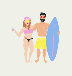 summer beach poster with surfer boy and girl vector image