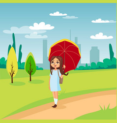 sweet girl walking under red umbrella on a vector image