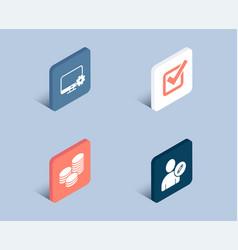 tips monitor settings and checkbox icons edit vector image