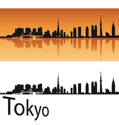Tokyo skyline in orange background vector