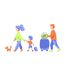 Travelling family with pet and luggage vector