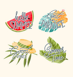 tropical summer lettering vector image