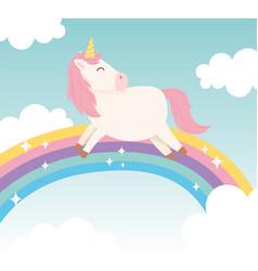 unicorn on rainbow dream magical fantasy cartoon vector image