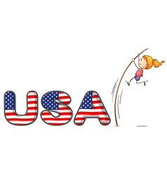 usa letters with a girl above a stick vector image