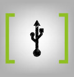 Usb sign black scribble icon vector