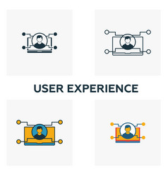 user experience icon set four elements in vector image