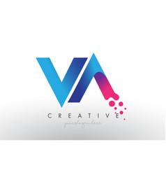 Va letter design with creative dots bubble vector