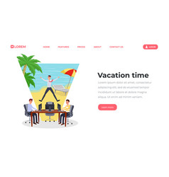 vacation time flat landing page template office vector image