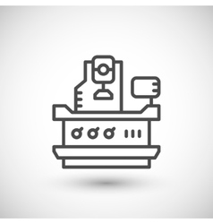 Vertical milling machine line icon vector