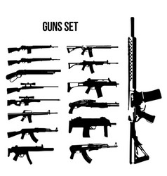 Weapon icon set machine guns and rifles vector