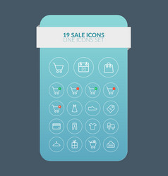 web line sale icons set vector image