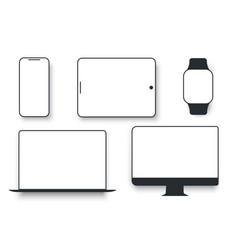 white desktop computer display screen smartphone vector image