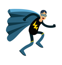 Young masked man in a superhero costume and blue vector