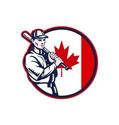 Canadian baseball batter canada flag circle vector