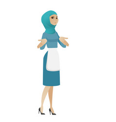 confused young muslim cleaner shrugging shoulders vector image vector image