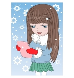 Girl with a tablet vector image vector image