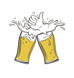 image of beer glasses vector image vector image
