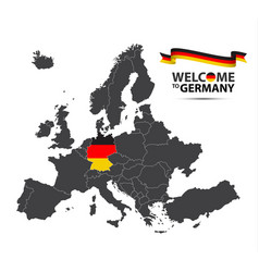 map of europe with the state of germany vector image vector image