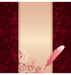 frame with hearts and feather vector image vector image