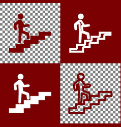 man on stairs going up bordo and white vector image vector image